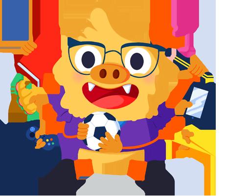 Ilustración de la mascota que acompaña el curso Estrategias de intervención para el alumnado con TDAH