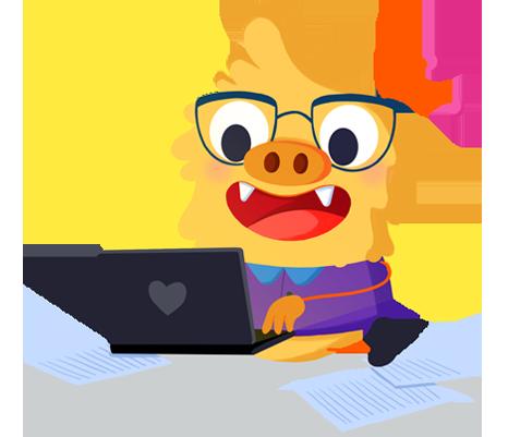Ilustración de la mascota que acompaña el curso Herramientas digitales