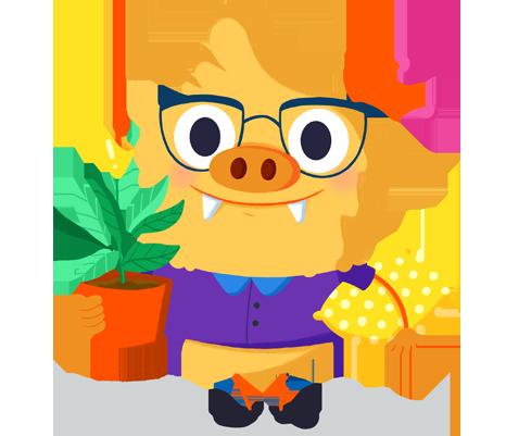 Ilustración de la mascota que acompaña el curso Los ambientes de aprendizaje como una nueva propuesta educativa