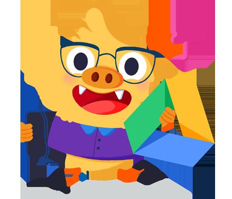 Ilustración de la mascota que acompaña el curso Primer contacto con las herramientas G Suite for Education aplicadas en el aula