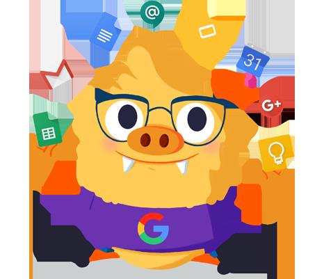 Ilustración de la mascota que acompaña el curso Progresar en el trabajo con las herramientas G Suite for Education aplicadas en el aula