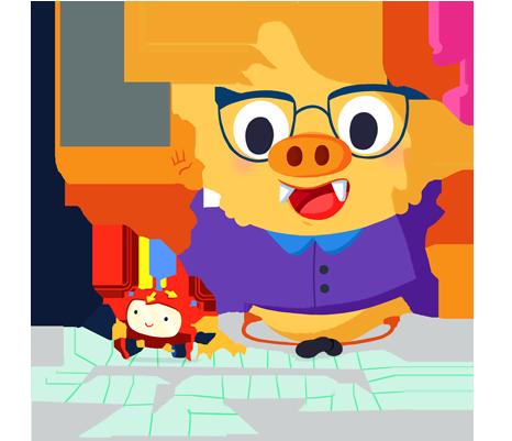 Ilustración de la mascota que acompaña el curso Robótica y Programación en educación infantil y en el ciclo inicial de primaria