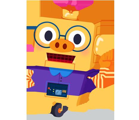 Ilustración de la mascota que acompaña el curso Robótica y Programación en los ciclos medio y superior de primaria