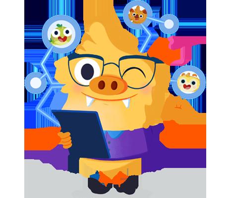 Ilustración de la mascota que acompaña el curso Uso competente de la tecnología digital en el aula