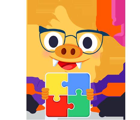 Ilustración de la mascota que acompaña el curso Respuesta educativa al alumnado con trastorno del espectro autista (TEA)