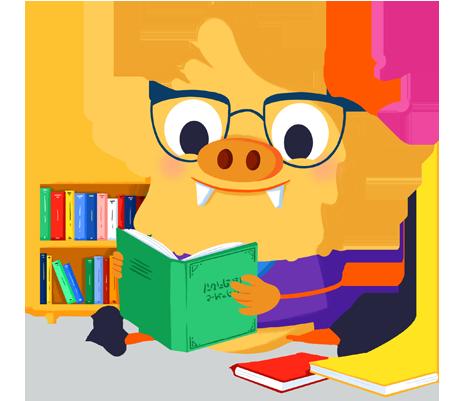 Ilustración de la mascota que acompaña el curso Biblioteca escolar y animación de la lectura