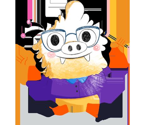 Ilustración de la mascota que acompaña el curso Educación visual y plástica: una nueva mirada educativa